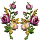 Pink lavender roses flowers floral bouquet applique iron-on patches S-985 FREE SHIPPING WORLDWIDE!