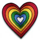 Heart love gay lesbian pride rainbow flag LGBT applique iron-on patch new S-130