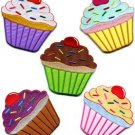 Lot of 5 cupcake retro fairy cake cup sweets dessert applique iron-on patches