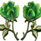 Green roses pair flowers floral retro boho applique iron-on patch S-604 WE SHIP ANYWHERE FOR FREE!