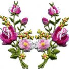 Pink roses pair flowers floral bouquet applique iron-on patch S-803 WE SHIP ANYWHERE FOR FREE!