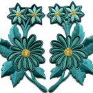 Teal blue green daisies pair flowers floral boho applique iron-on patch S-809