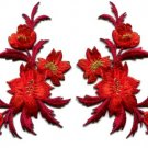 Red / orange flowers pair floral applique iron-on patches new S-980 WORLDWIDE DELIVERY IS FREE!