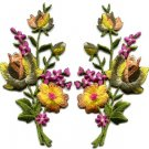 Yellow pink roses pair flowers bouquet boho applique iron-on patch S-984 FREE SHIPPING WORLDWIDE!