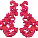Hot pink fringe retro boho granny chic applique iron-on patches pair new S-990