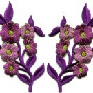 Purple flowers pair floral bouquet boho applique iron-on patches pair S-993