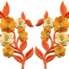 Orange flowers pair floral bouquet boho applique iron-on patches pair new S-996