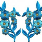 Baby blue flowers pair floral bouquet boho applique iron-on patches pair S-994