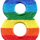 Number 8 counting eight gay lesbian LGBT rainbow applique iron-on patch S-1028