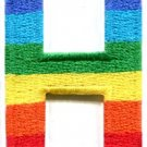 Letter H gay lesbian LGBT rainbow english alphabet applique iron-on patch S-915