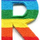 Letter R rainbow english gay lesbian LGBT alphabet applique iron-on patch S-925