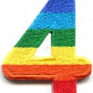 Number 4 counting four gay lesbian LGBT rainbow applique iron-on patch S-1024