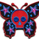 Butterfly skull horror goth emo punk biker applique iron-on patch new S-181