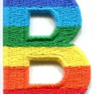 Letter B gay lesbian LGBT rainbow english alphabet applique iron-on patch S-909