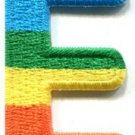 Letter E gay lesbian LGBT rainbow english alphabet applique iron-on patch S-912