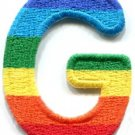 Letter G gay lesbian LGBT rainbow english alphabet applique iron-on patch S-914
