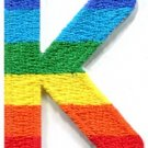 Letter K gay lesbian LGBT rainbow english alphabet applique iron-on patch S-918
