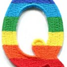 Letter Q rainbow english gay lesbian LGBT alphabet applique iron-on patch S-924