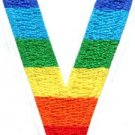 Letter V rainbow english gay lesbian LGBT alphabet applique iron-on patch S-929