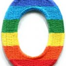 Number 0 counting zero gay lesbian LGBT rainbow applique iron-on patch S-1020