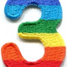 Number 3 counting three gay lesbian LGBT rainbow applique iron-on patch S-1023