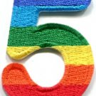 Number 5 counting five gay lesbian LGBT rainbow applique iron-on patch S-1025