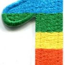 Number 1 counting one gay lesbian LGBT rainbow applique iron-on patch S-1021