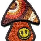 Mushroom smiley face retro hippie boho peace weed applique iron-on patch S-1039