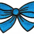 Blue bow knot ribbon boho retro sew sewing applique iron-on patch new S-439