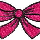 Hot pink bow knot ribbon boho retro sew sewing applique iron-on patch new S-443