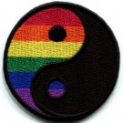 Yin Yang gay lesbian pride rainbow retro LGBT applique iron-on patch sm S-133