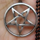 Pentagram occult satanic demonic wicca witch satan pewter pendant necklace new