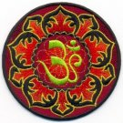 Aum om infinity hindu yoga indian lotus retro hippie applique iron-on patch T-10