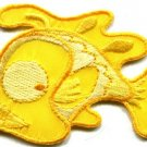 Fish retro fun yellow applique iron-on patch new S-225