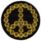 Smiley face peace sign hippie 70s iron-on patch S-26