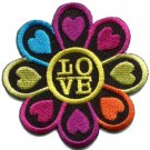 Flower power hippie love applique iron-on patch S-121