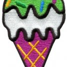 Ice cream cone retro fun applique iron-on patch S-198
