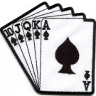 Royal flush playing cards biker retro poker ace applique iron-on patch new S-583