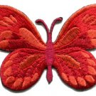 Butterfly hippie red embroidered iron-on patch S-169