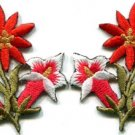 Orange lilies pair flowers floral bouquet boho applique iron-on patch new S-608