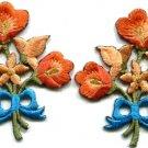 Orange lilies pair flowers floral bouquet boho applique iron-on patch S-615