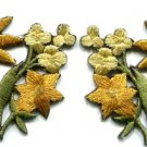 Gold golden lilies pair flowers floral bouquet boho applique iron-on patch S-612