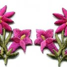 Hot pink lilies pair flowers floral bouquet boho applique iron-on patch S-613