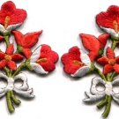 Red lilies pair flowers floral bouquet boho applique iron-on patch S-616