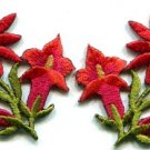 Red lilies pair flowers floral bouquet boho applique iron-on patch new S-610