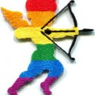 Cupid god of love gay lesbian rainbow LGBT applique iron-on patch new S-551