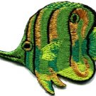 Angelfish fish green applique iron-on patch new S-224
