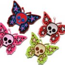 Lot of 4 butterfly skull horror goth tattoo punk boho appliques iron-on patches