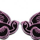 Lot of 2 bird tattoo swallow dove sparrow biker appliques iron-on patches pink