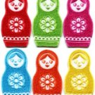 Lot of 6 russian matryoshka babushka nesting doll appliques iron-on patches new